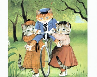 Susan Herbert Cats on Bicycle Humorous, Fine Art Print, Book Page, Illustration, Wall Decor, Cat Lovers VC1