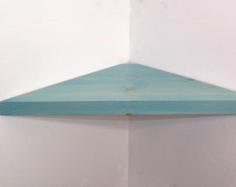 24 Inch Floating Corner Shelf with Vintage Aqua Stain Handmade in the USA