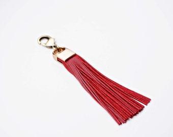 Red Genuine Leather and Brass Tassel Keychain