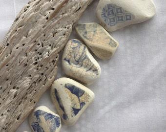 Soft Blue Edges of Scottish Sea Pottery SP 26.6.16.10