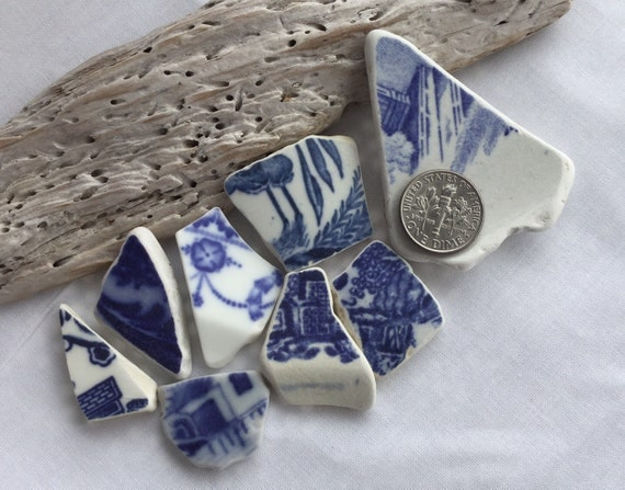 Bold Blue Coloured Shards Of Scottish Sea Pottery Sp 29 11