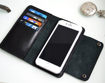 Iphone 8 - Iphone 6 leather wallet with cut flap closure - free shipping Etsy