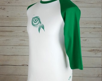 Baseball Jersey for men, Medium 3/4 sleeve T-shirt  green and white, with eye and fish design