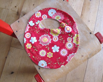 baby bib red with flowers