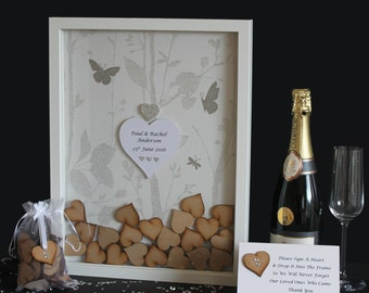 Personalised Wedding Butterfly Guest book Dropbox Heart Frame White Silver Drop Box