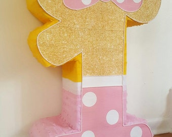 Amazing Minnie Mouse Number 1 Pink and Gold piñata  party !!!!!
