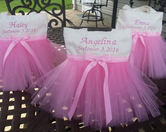 New 2 sizes available , Birthday tute favor bags,  Party Favor Bags, Flower girl Bags, Ivory Tutu Bag, Free Embroidery,