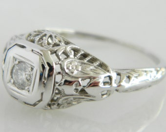 Vintage Art Deco 18K White Gold Diamond Engagement Ring Size 5.5