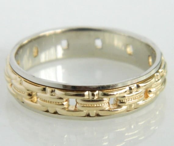 Vintage Artcarved 14K White & Yellow Gold Mens Wedding Band