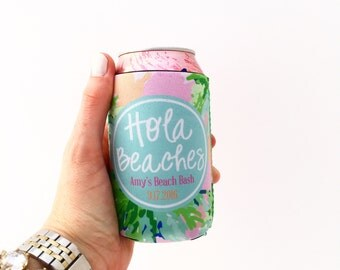 Preppy Palm Tree/Beach Bachelorette/Wedding Party Hugger/Can Insulator