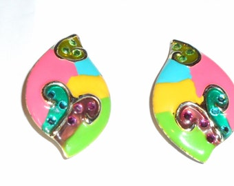 1980s clip on earrings butterflies
