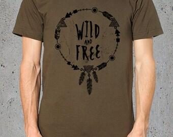 Mens Shirt-BOHO TShirt Wild & Free DREAMCATCHER Shirt)Feather Shirt Dream Catcher T Shirt-Graphic Tee,Bohemian Clothing-Yoga Shirt-Instagram