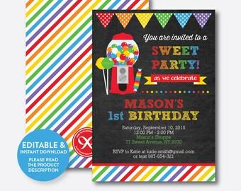 Instant Download, Editable Sweet Shoppe Birthday Invitation, Sweet Shoppe Party Invitation, Candyland Invitation, Boy, Chalkboard (CKB.84)