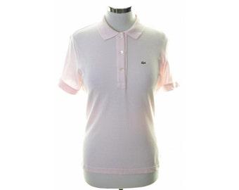 Lacoste Womens Polo Shirt Size 42 14 Medium Pink Cotton