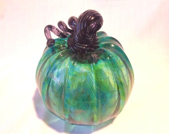 Hand Blown Glass Green Pumpkin