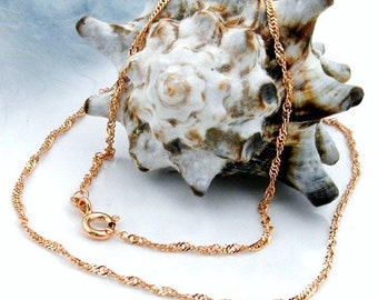 Delicate chain Singapore 45 cm, 14K pink gold