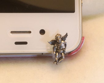 Goldtone Angel, Cell Phone Dust Plug/Deco for IPhone 6. Phone bling/accessory.  Cell phone dust plug.