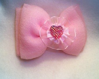 Pink Chiffon Bow hair clip, Pink Chiffon with a Heart center. Valentine Hair Bow.