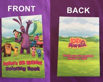 12 Personalized Kate and Mim-Mim Coloring Books / with Crayons, Party Favors