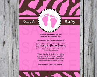 Baby shower invite Pink and Brown Zebra with Baby Feet
