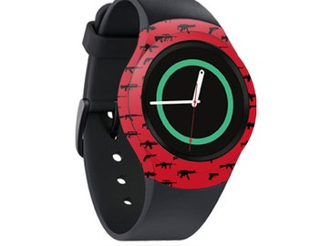 Skin Decal Wrap for Samsung Gear S2, S2 3G, Live, Neo S Smart Watch, Galaxy Gear Fit cover sticker Guns