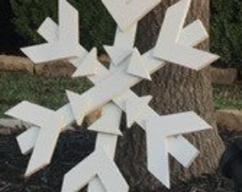 Hand crafted, wooden snowflake