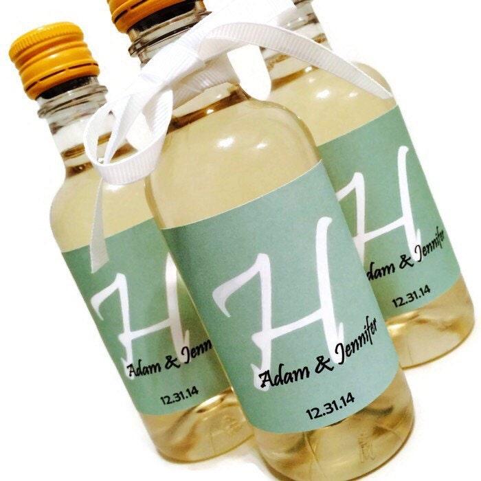 Wedding favor mini wine bottle labels bridal shower favors for Mini wine bottle wedding favors