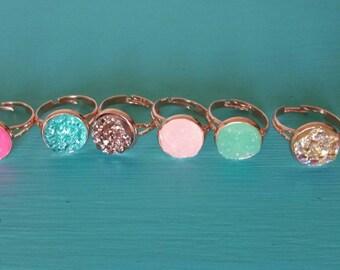 Faux Druzy Adjustable Rose Gold Rings 12mm Rose Gold Setting -Boho Ring - Boho - Ocean - Rose Gold Ring