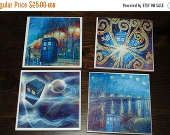 On Sale Doctor Who Ceramic Coasters Tardis Geeky Decor