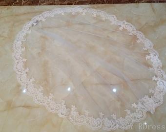 Flower lace wedding veil, Bridal lace wedding veils, Custom handmade veil, ivory, white, with a comb, custom length