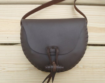 CSherwoodLeather Handmade Messenger Bag. 2 Pocket Small Crossbody Purse Brown Possibles Leather Bag. Rolled Leather Button Close