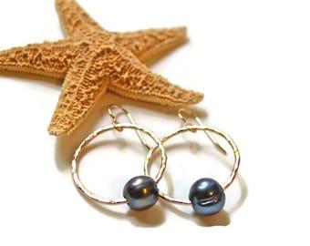 Pearl Hoop Earrings, Gold Hoop Earrings with Pearls