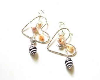 Sterling Heart Earrings with Shells & Pearls, Dangling Shell Earrings