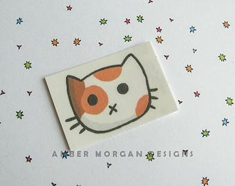 Cat Face Temporary Tattoo, Cute Kitty Tattoo, Calico Cat, Kawaii Cat, Fake Tattoo, Cute Tattoo, Sweet Kitty, Fun Temporary Tat