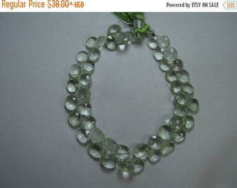 10% Off Heart Green Amethyst Briolette Beads