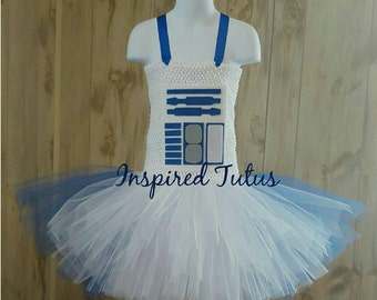 R2-D2 tutu.  Sizes newborn to girls 10/12. Perfect for your favorite droid.  More Star wars characters avail.