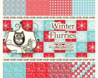 Winter Flurries  12x12 Collection - Instant Download
