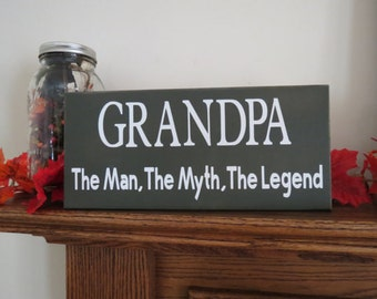 Grandpa Man Myth Legend Custom Wood Sign Grandparents Day Father's Day Gift