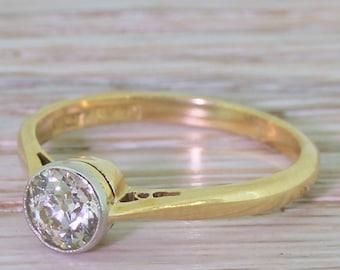 Art Deco 0.65 Carat Old European Cut Diamond Engagement Ring, circa 1920