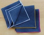 "Linen Pocket Square, Linen Handkerchiefs, Navy Pocket Square, Wedding Apparel, Men's Handkerchief, Custom Pocket Square  (one) 12"""