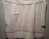 Vintage White Organdy Apron with Red Rick Rack, FREE SHIPPING, Excellent Condition