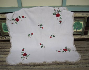 Gorgeous Vintage  Hand Embroidered LinenTablecloth - Red Roses - Floral