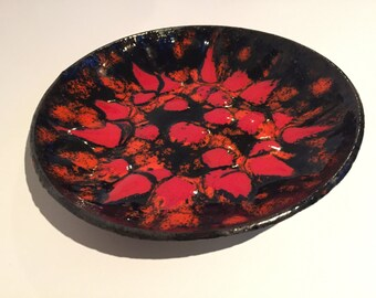Vintage Mid Century Modernist copper bowl , red,orange, black enamel ,hammered copper hand decoration from the1960s