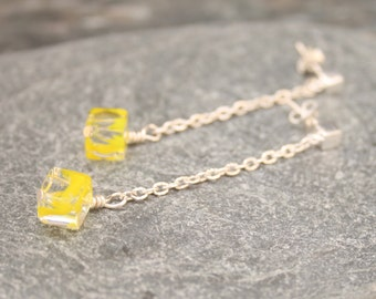 Silver earrings, dangle earrings, long earrings, yellow earrings, sterling silver earrings, cube earrings, summer earrings