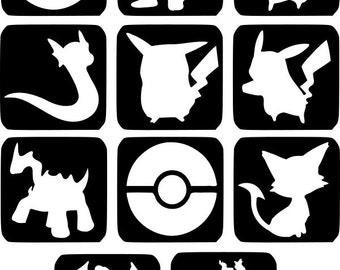 Refill Stencils Only #25 - 11 X Pokemon Glitter Tattoo Stencils Refill Your Glitter Tattoo Kit
