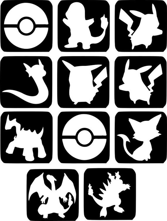 refill stencils only 25 11 x pokemon glass etching stencils. Black Bedroom Furniture Sets. Home Design Ideas