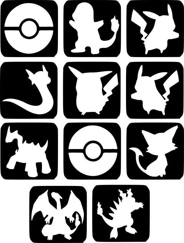 refill stencils only 25 11 x pokemon glitter tattoo. Black Bedroom Furniture Sets. Home Design Ideas