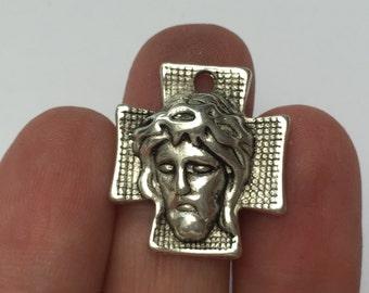 6 Jesus Cross Charms Antique Silver  24mm x 22mm - CROSS14