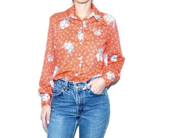 70s Red Floral Printed Long Sleeve Button Up Blouse Small, Blue Floral Vintage