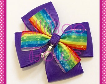 Handmade Rainbow Shooting Star Hair Bow
